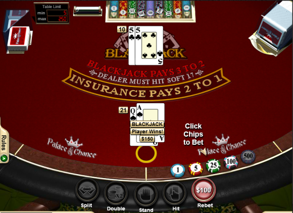 Blackjack at Palace