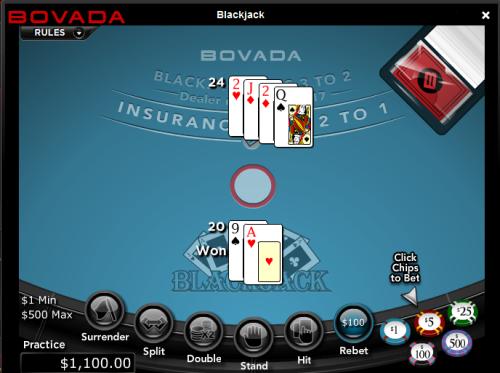 Play Blackjack at Bovada